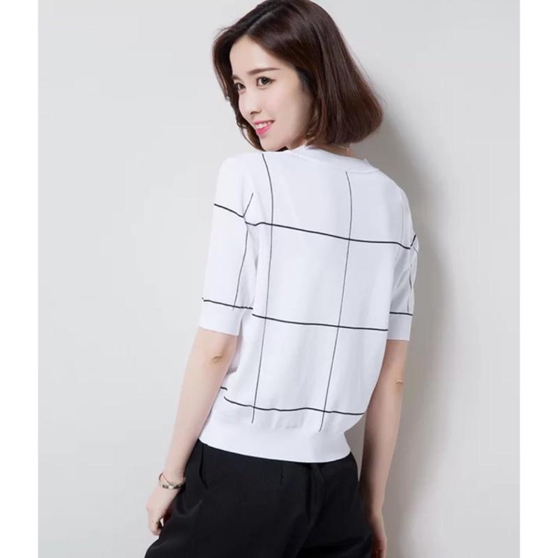 [隨心所欲] 百搭上衣格子線條針織衫短袖T 恤大