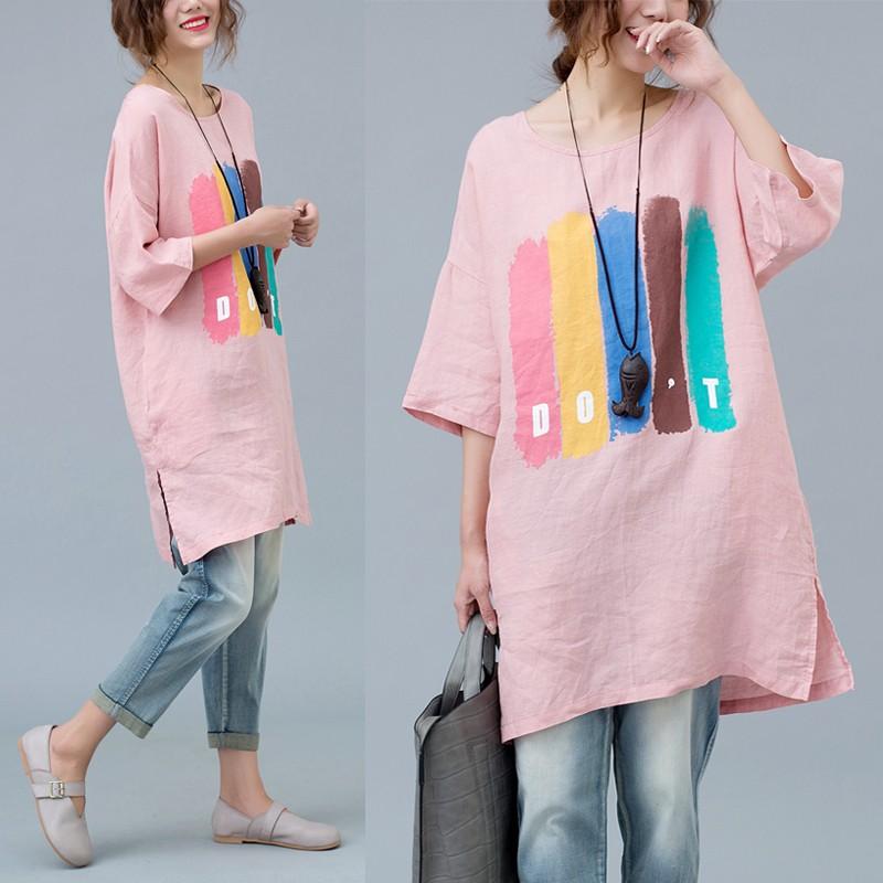 歐洲款大碼顯瘦T 恤2017 胖MM 潮款粉色可愛印花T 恤打底連衣裙大碼洋裝