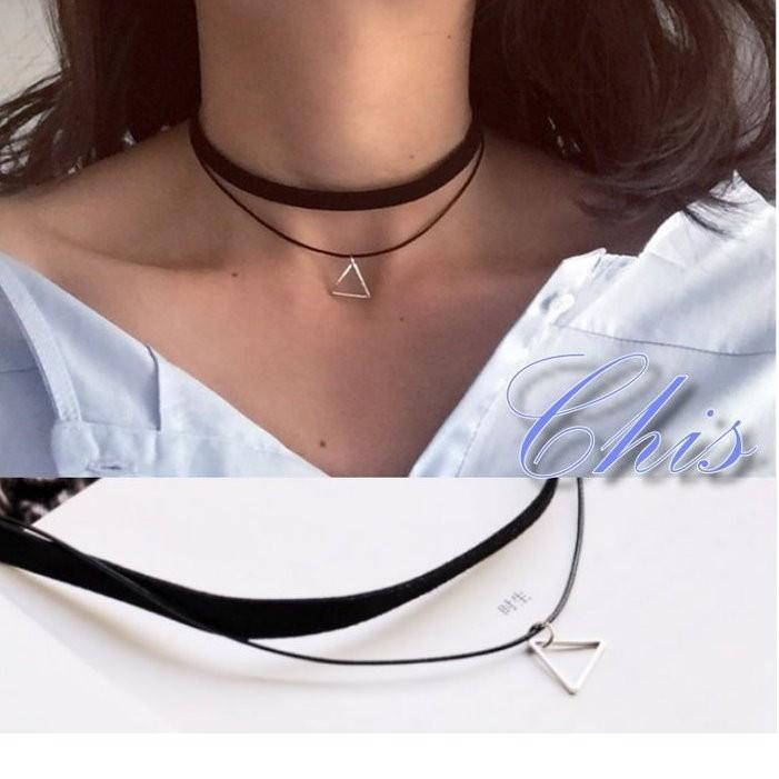 Chis Store ~鏤空三角形雙層頸鍊~韓國復古極簡風簡約幾何圖形簡單三角短項鍊頸圈項