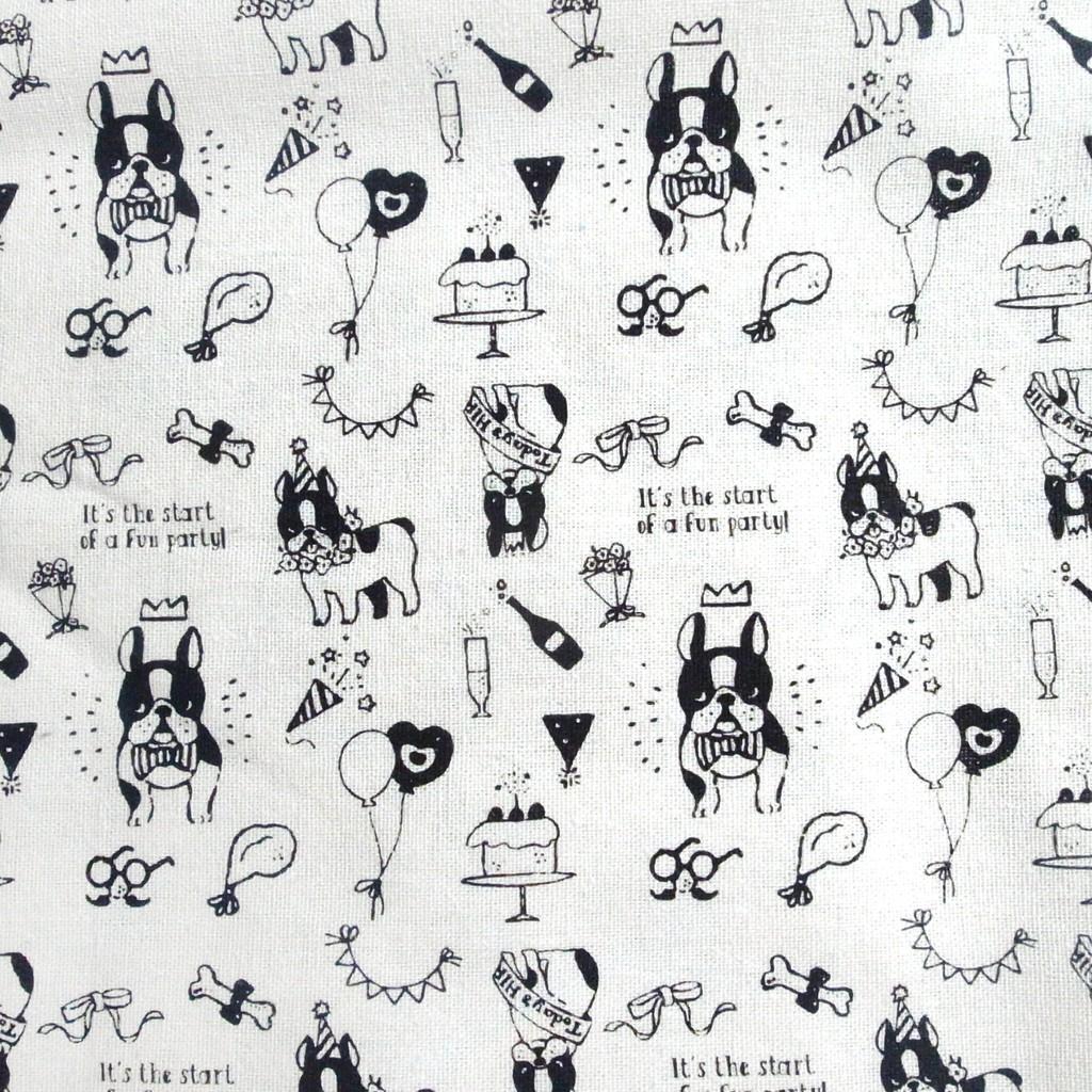 可愛鬥牛犬棉麻布料˙拼布˙手作˙桌布˙攝影背景˙露營˙ZAKKA ˙野餐