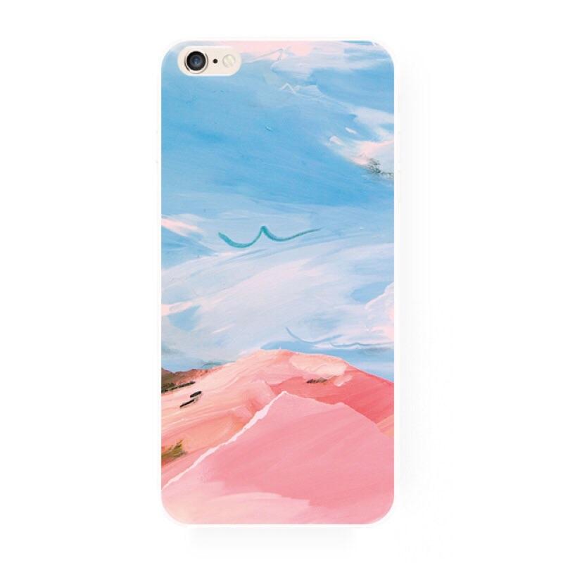 美美的天空粉色系手機殼iPhone6 5 6 6s 4 蘋果文青特別訂製手做小米not 三