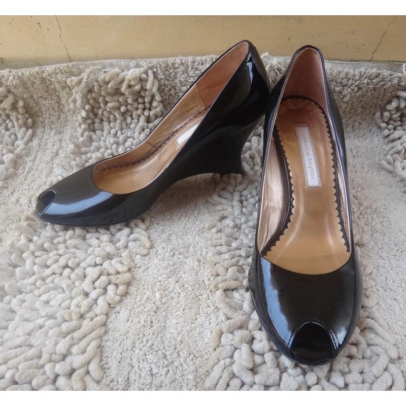 正品 製Rebecca Taylor 黑色亮面漆皮靴型魚口鞋size 23 5