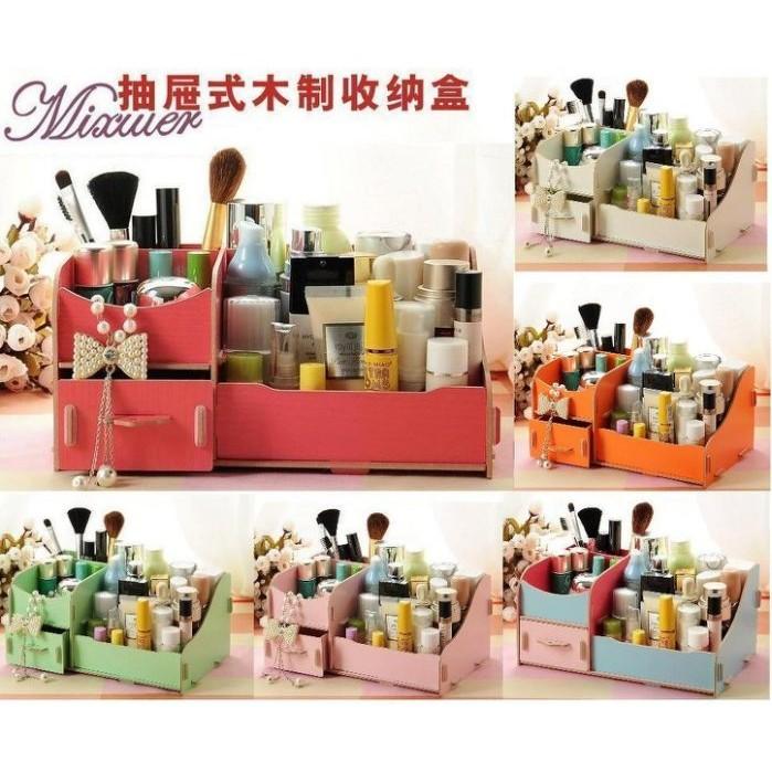 335 號倉庫7色M16 木製DIY 雙層收納箱DIY 木質化妝盒DIY 拼裝化妝盒飾品收