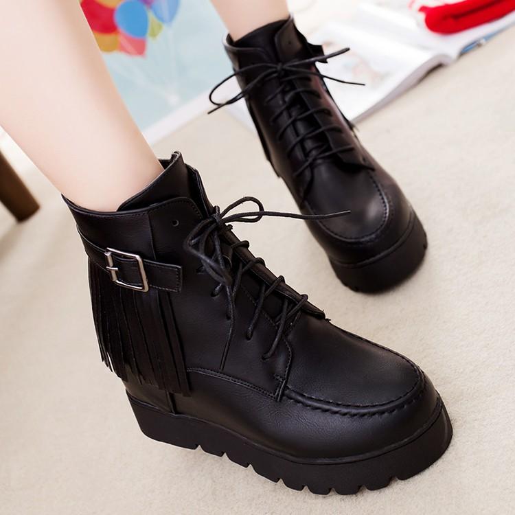 2016 秋 單鞋厚底英倫風黑色復古系帶潮女短靴平跟厚底馬丁靴女內增高單靴單鞋休閒鞋中筒靴