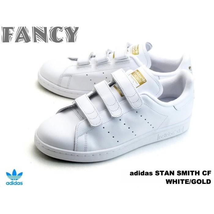 Adidas STAN SMITH CF J S75188 史密斯全白魔鬼粘魔鬼氈金標白金