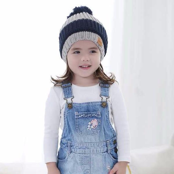 KB 兒童小皮標藍灰條紋帽寶寶男童保暖冬天帽子