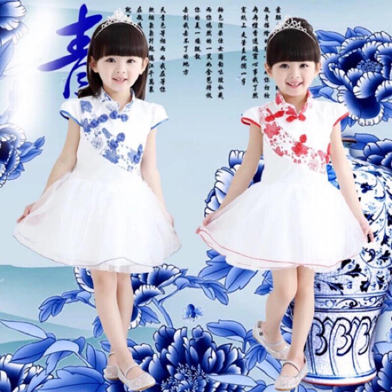 ~咪滴小舖~青花瓷兒童中國服洋裝中國風旗袍蓬蓬裙110 150 碼