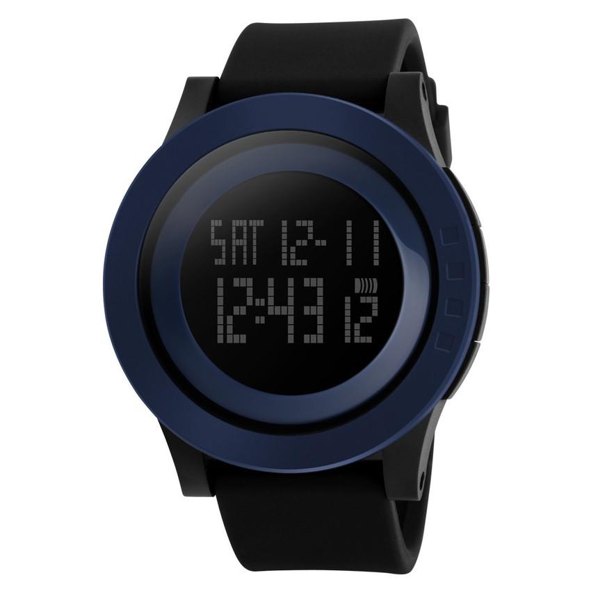 2016 SKMEI 男士軍事 手錶矽膠防水LED 數碼手錶(藍色和黑色)