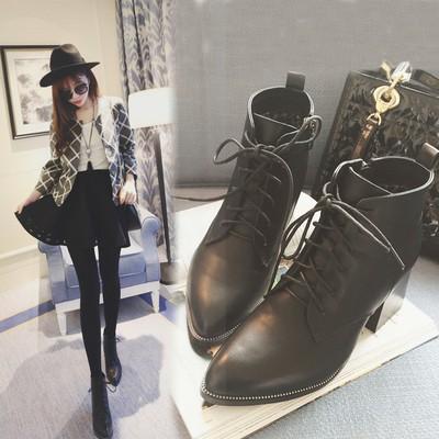 《明星同款》馬丁靴女英倫風短筒女靴春秋單靴 真皮尖頭粗跟短靴潮