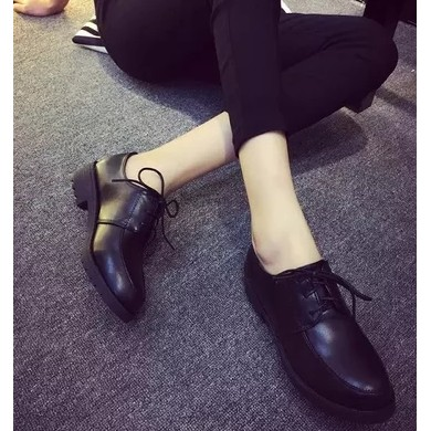 2016 春秋 皮鞋 中跟學生女鞋子英倫風粗跟單鞋女士鞋工作鞋