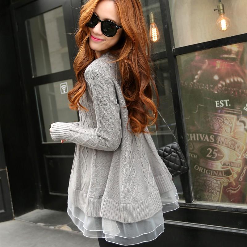 韓系甜美麻花寬鬆下擺歐根紗毛衣唯美歐根紗拼接寬鬆毛衣傘狀針織毛衣