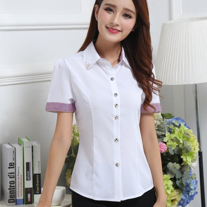 女士正裝打底白色春 職業襯衫襯衣雪紡短袖大碼工作服 學生