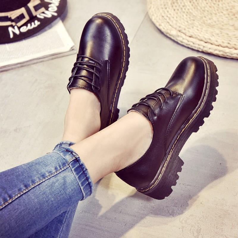 馬丁靴英倫風女鞋圓頭低幫皮鞋復古學院風牛津鞋學生