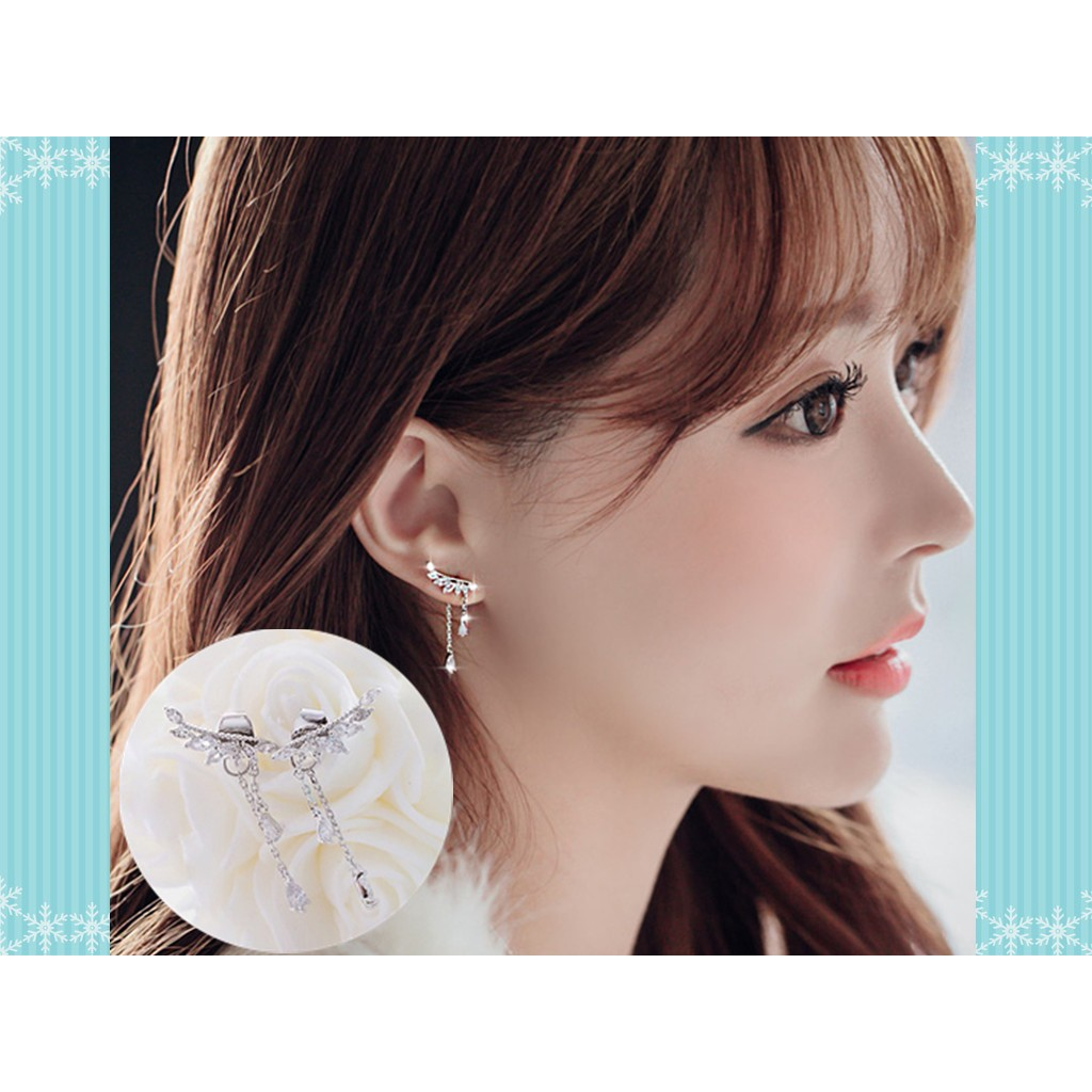 純銀後掛蝴蝶翅膀耳環S925 鑲鑽流蘇長款垂墜式韓國氣質耳針式耳釘超閃亮鋯石水鑽耳飾首飾配