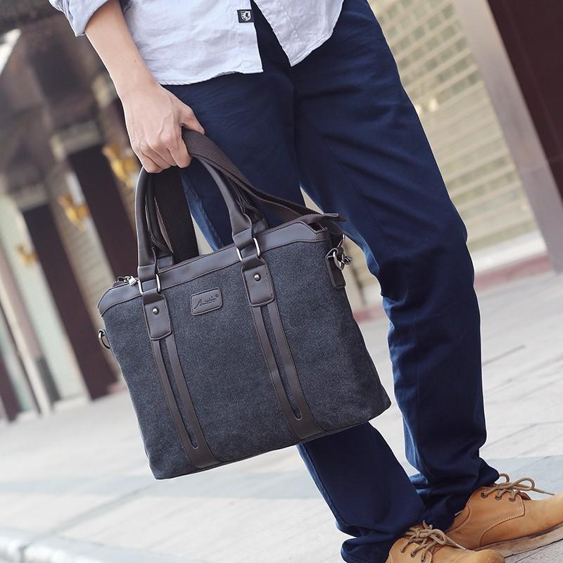 男包帆布包包商務男士手提包公事包單肩包休閒包斜挎包 潮