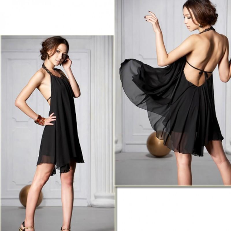 √ ❤ 女裝露肩修身甜美蝴蝶結連衣裙荷葉邊露肩吊帶洋裝女士露背紡吊帶連衣裙黑色