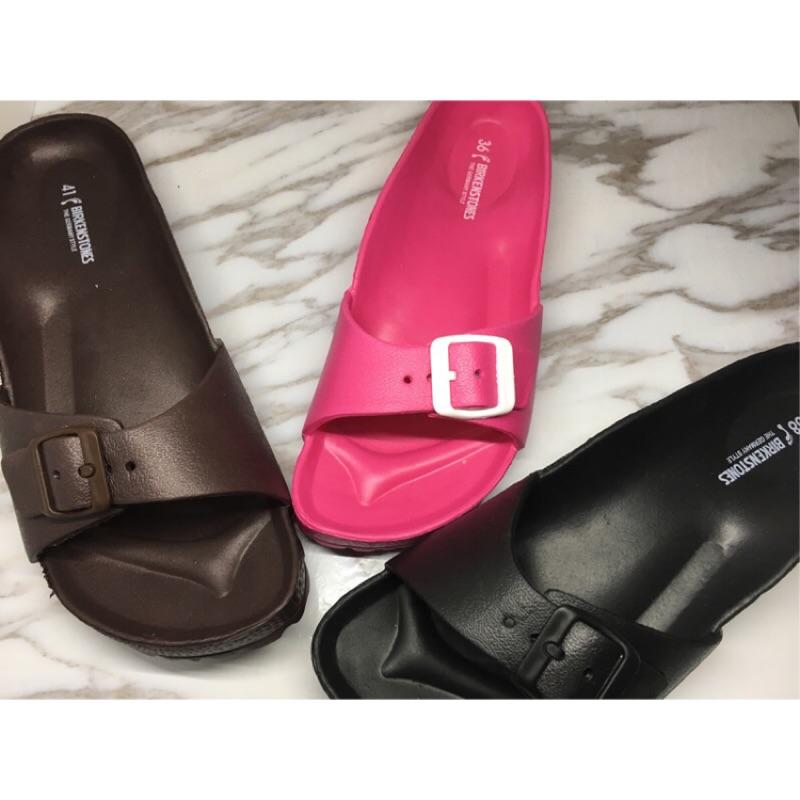 男女勃肯拖鞋EVA 防水系列塑膠拖鞋雙扣環帶一片式拖鞋一字拖情侶款激似airwalk Bi