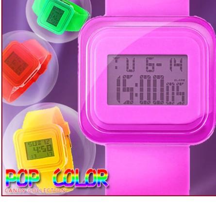 糖果色多 電子錶馬卡龍糖果色彩錶LED 韓國方形中性手錶兒童錶女錶男錶對錶B021
