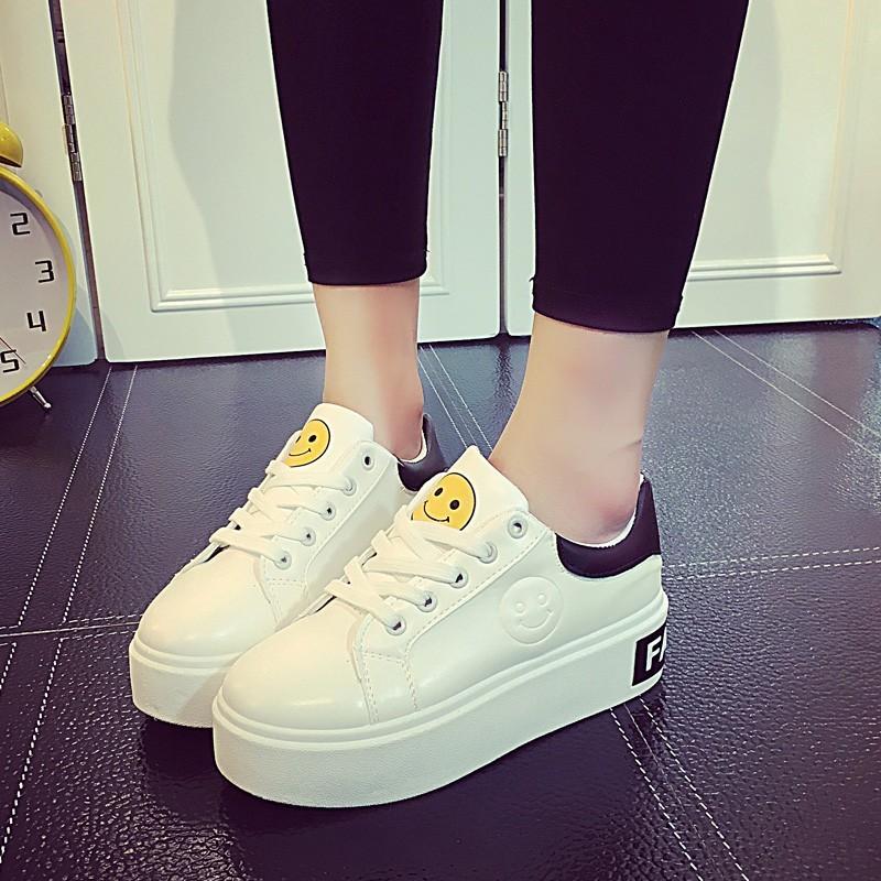 貝蒂舖原宿風2016  松糕厚底笑臉系帶 鞋女學生 跑步鞋