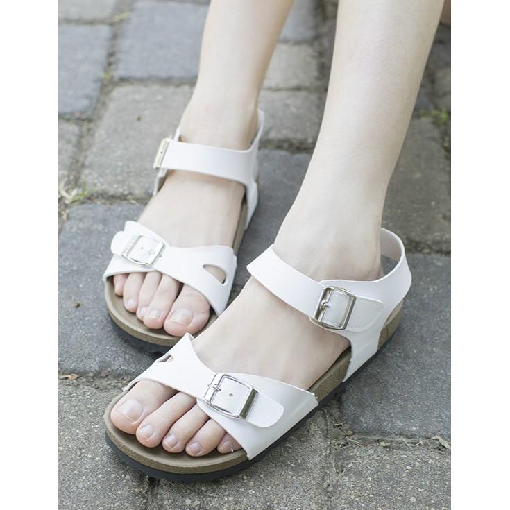 涼鞋女鞋魔鬼氈涼鞋 制女生平底涼鞋黑色白色