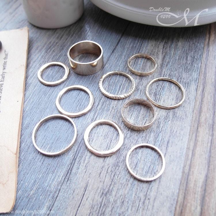 戒指套裝10 件組潮流混搭簡約 2 色AA0252 DOUBLEM9299