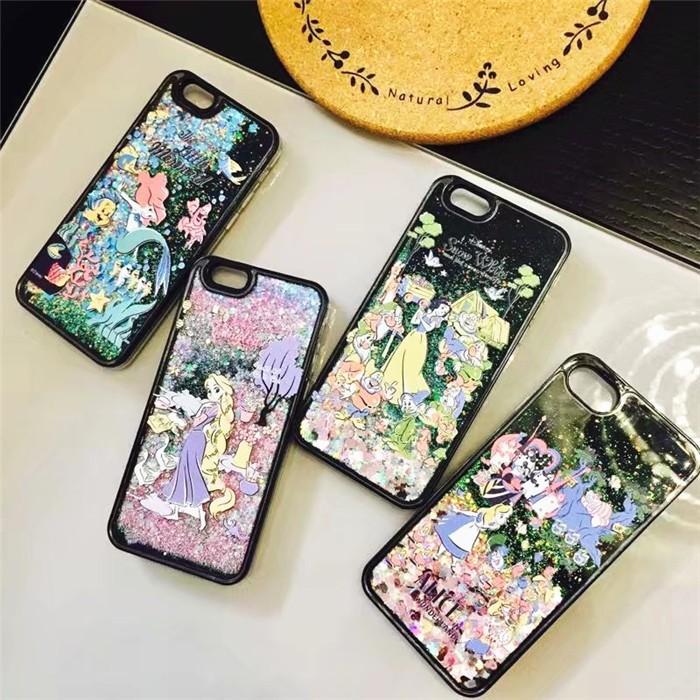 迪士尼公主系列小美人魚愛麗絲白雪公主長髮公主液體流沙iphone 殼手機殼4 款