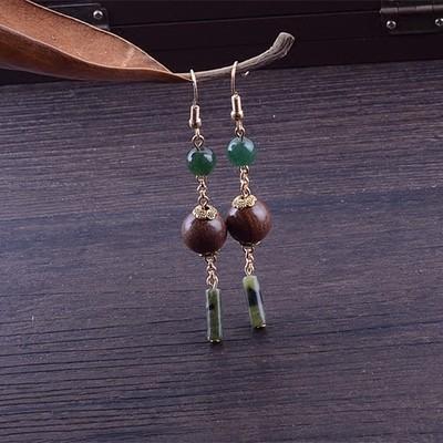 原創金絲檀木珠綠玉石民族風長款古典復古 耳環漢服旗袍配飾品