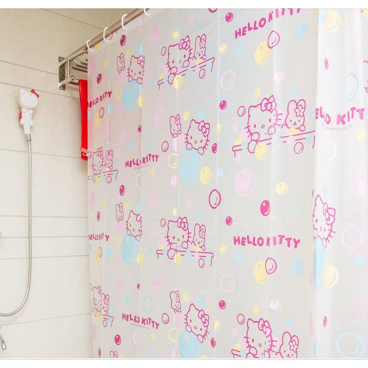 180 厘米Hello Kitty 淋浴簾防水浴室窗簾凱蒂貓可愛卡通浴簾凱蒂和服浴簾金屬加