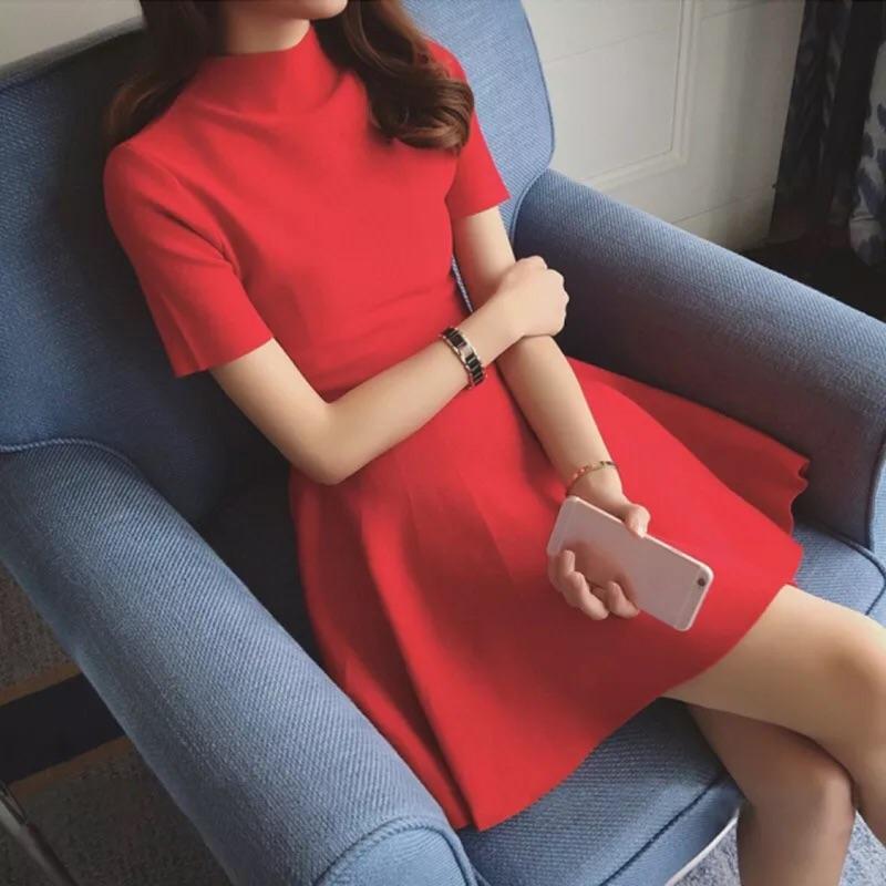 追加款2016  女裝潮 小香風短袖針織大紅色連衣裙夏修身a 字裙