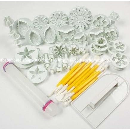 翻糖工具14 款46 件組翻糖蛋糕模具工具套裝DIY 糖花壓模切模烘焙印花模雕刻刀