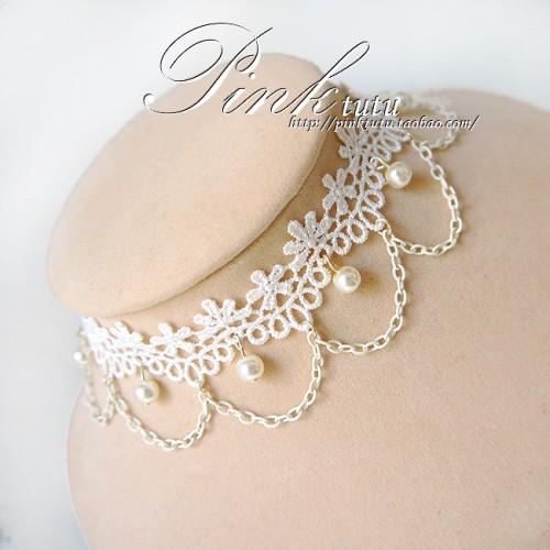 白色蕾絲鑽石珍珠鏈花朵新娘婚宴宮廷項鏈頸飾項鏈假領子XL84 貓熊繽雰甜美優雅簡約百搭項圈