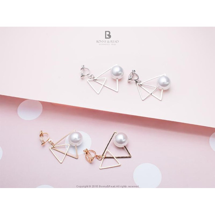 雙層的優雅三角夾式耳環2 色Elegant Queen Ear Clips