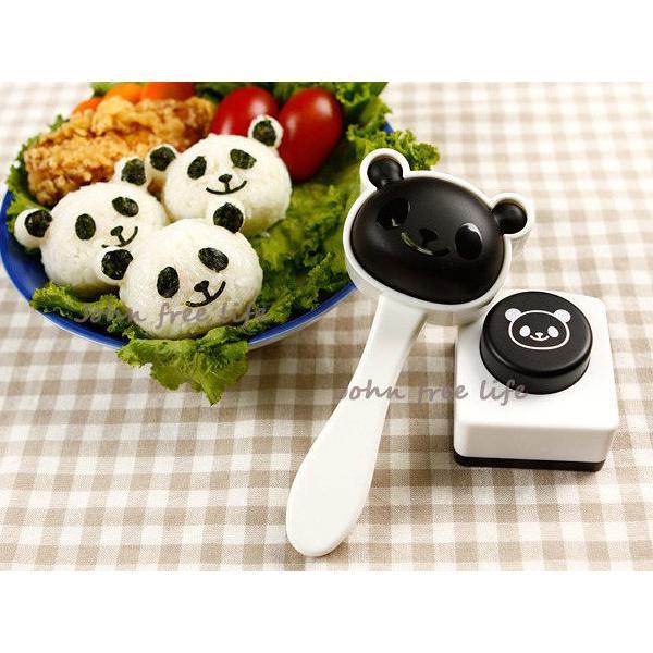 約翰家庭 ~~AF280 ~2 件套組熊貓臉型飯糰模具表情海苔押花器熊貓便當輕鬆做