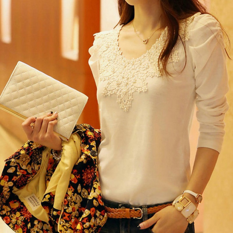 Zeagoo 女士性感蕾絲花邊長袖圓領T 恤衫