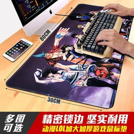 滑鼠墊超大號可愛動漫卡通加厚鎖邊遊戲筆記型電腦桌墊LOL