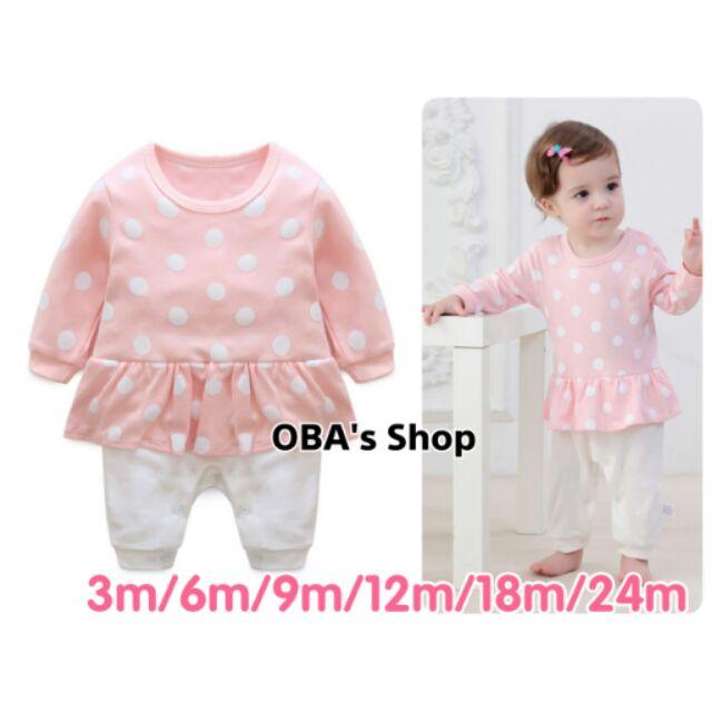 女寶 ~OBA s Shop ~女寶寶女童新生兒連身裙粉紅色點點長袖連身衣假兩件荷葉邊
