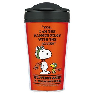 ~可愛通販~Peanuts Snoopy 史努比 製咖啡隨手杯保溫杯~紅‧飛行員‧320m
