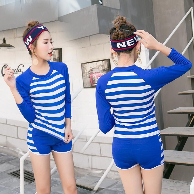 兩截式泳衣遮肉泳衣女泳衣❁2017 保守泳衣女 修身平角分體兩件套性感 條紋長袖防曬泳裝D