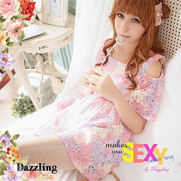 ~Dazzling ~402 36 甜美性感裸肩透膚水彩渲染蕾絲縷空一字領洋裝1 色特58