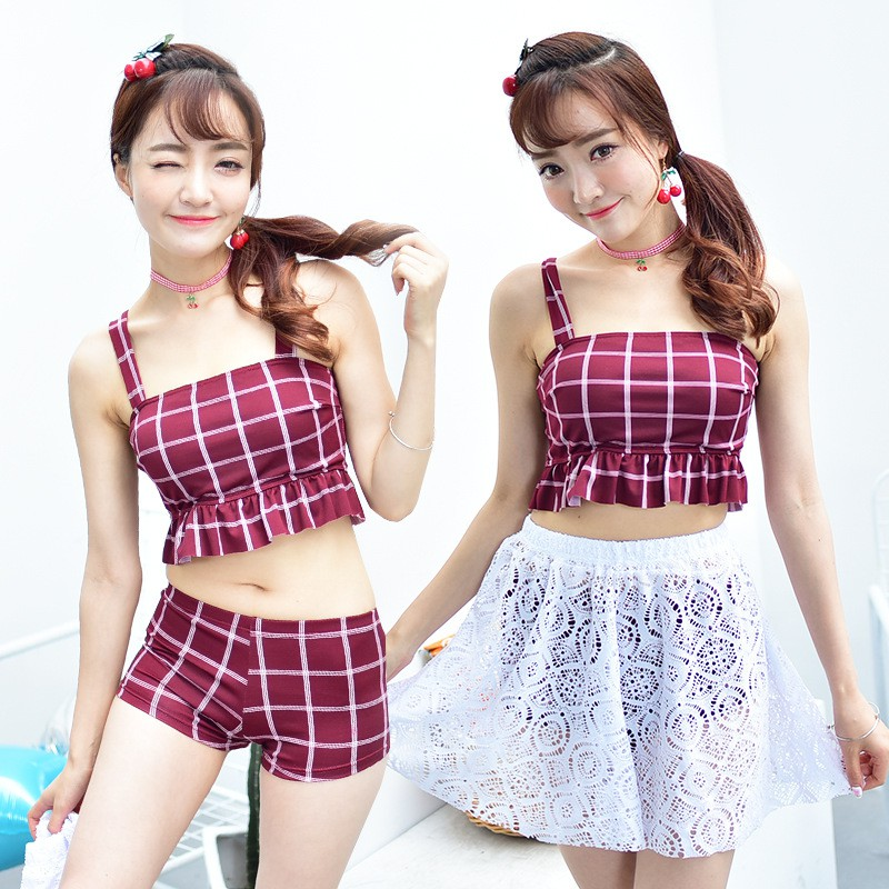 JNZZI 小資格調韓國 格子甜美分體裙式平角三件套溫泉泳衣女