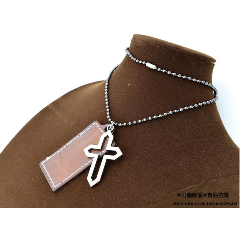 水漾~十字架真皮 短項鍊長項鏈~D2033 鏤空十字中性款城市獵人 款哥德雅痞