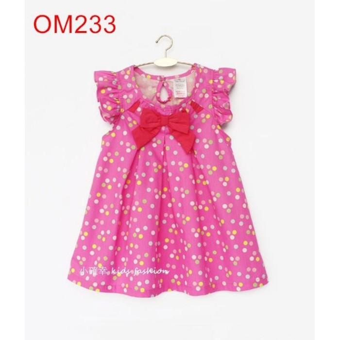 小確幸衣童館OM233 款粉色甜心秀麗蝴蝶結清新糖果圓點點飛飛袖洋裝