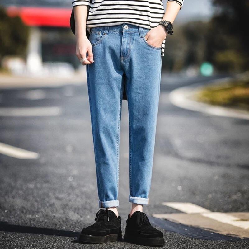 2016 秋裝牛仔褲男修身小腳百搭九分褲青年休閒褲子純色簡約潮