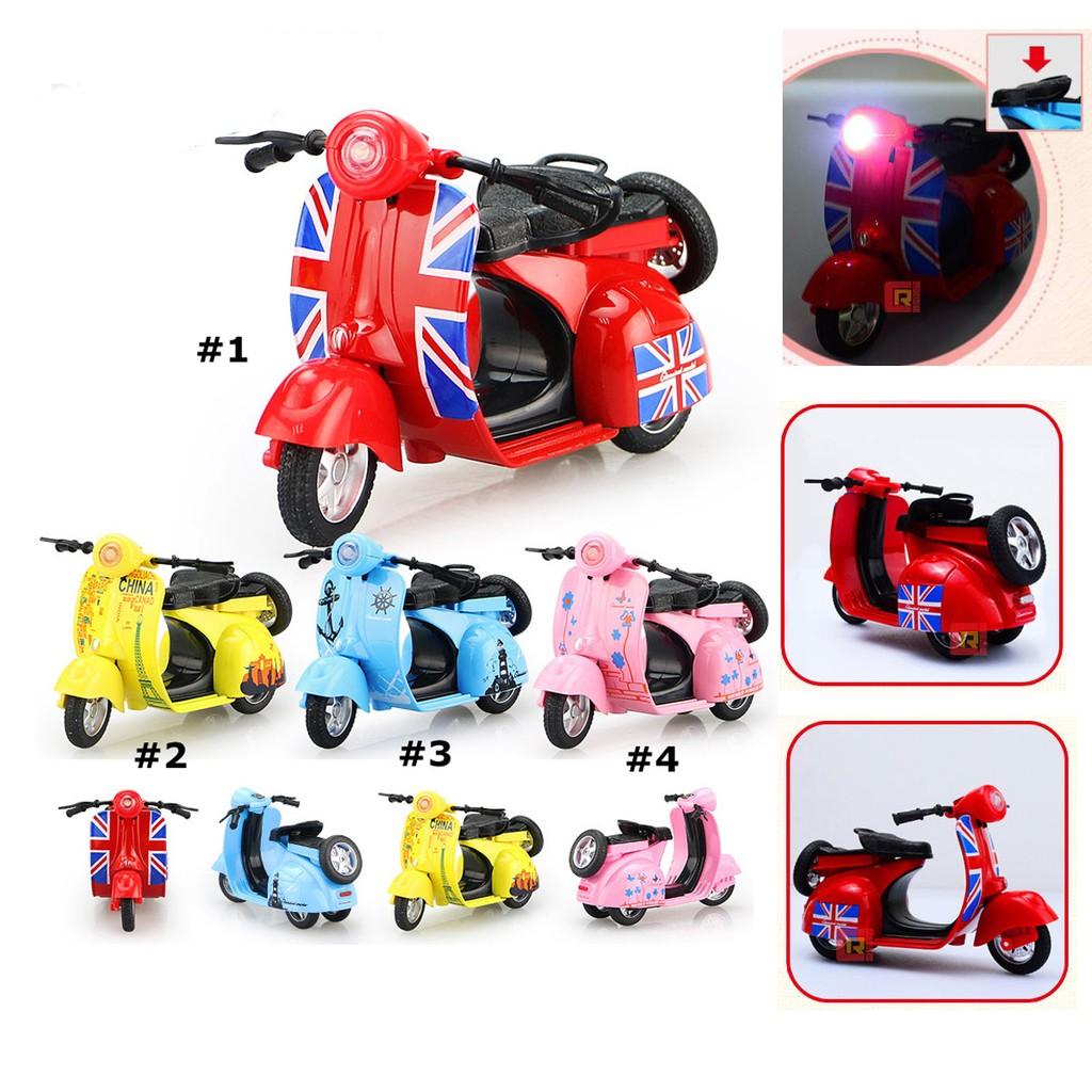 迷你Q 版超可愛合金機車偉士牌摩托車迴力兒童玩具車帶聲音燈光