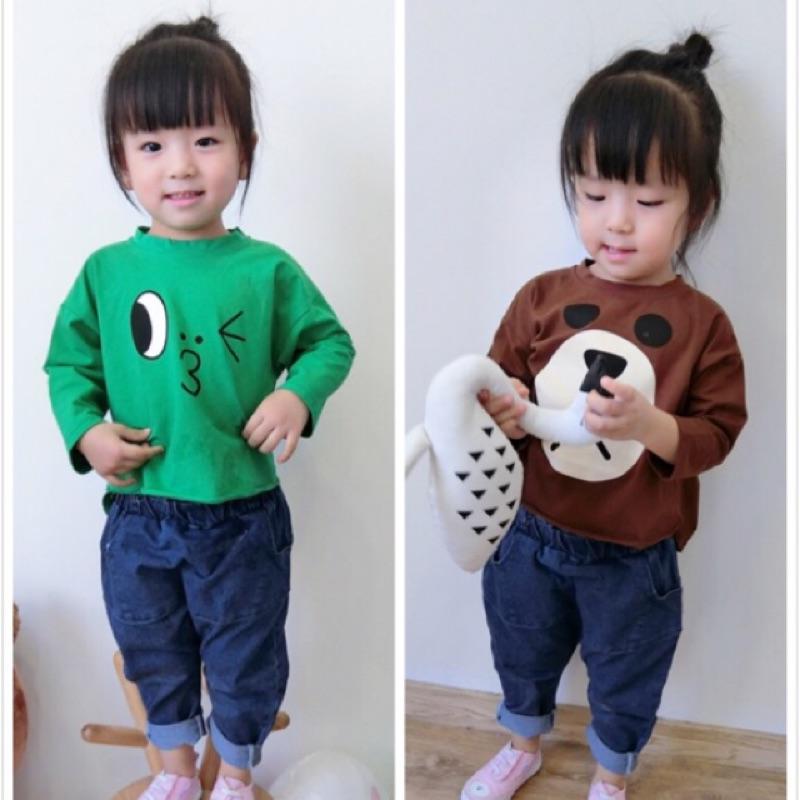 秋裝男童女童兒童嬰兒寶寶line 可愛卡通印花毛圈棉長袖圓領T 恤上衣熊大鴨子兔子