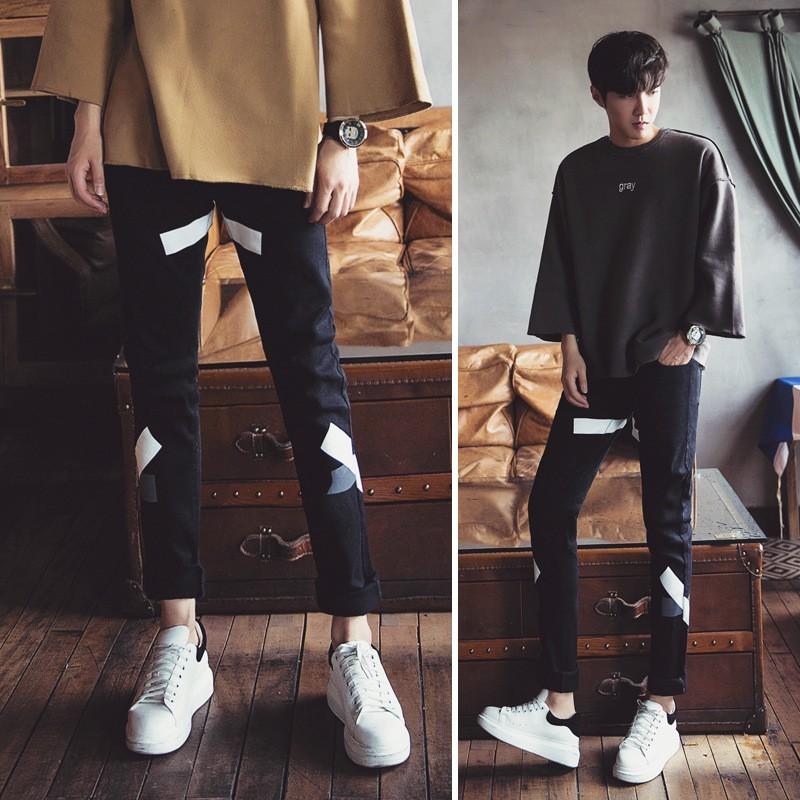 男褲男士白色印花褲子男青年小腳 褲直筒學生男士修身長褲
