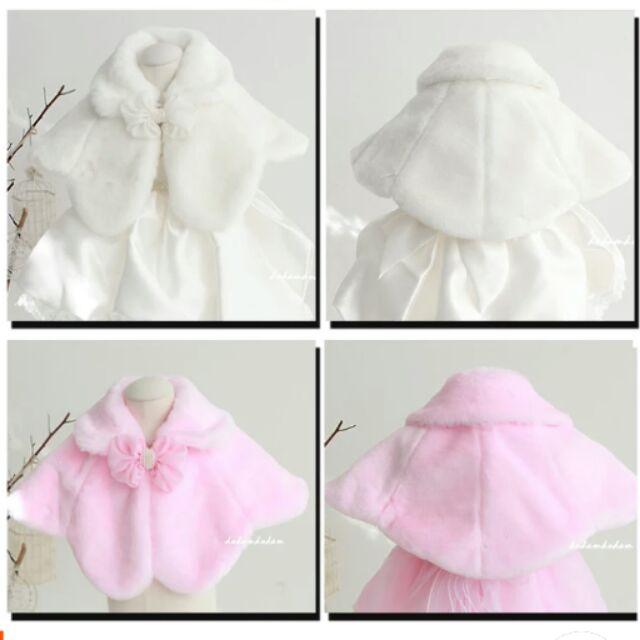 女童公主禮服花童毛絨披肩外搭披風斗篷外套95cm 155cm