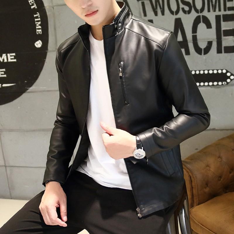 2017 春秋装修身皮夹克男士外套韩版青年 皮衣男装潮流上衣