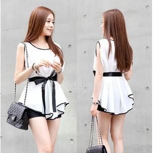上衣優雅女士修身合身白色襯衫襯衫休閒無袖上衣與腰帶