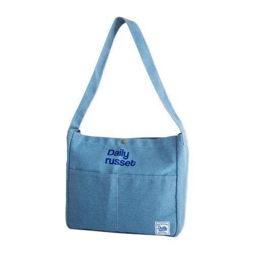 日文雜誌附錄包Daily russet 水藍側背包單肩包學生包牛仔包~大發 ~
